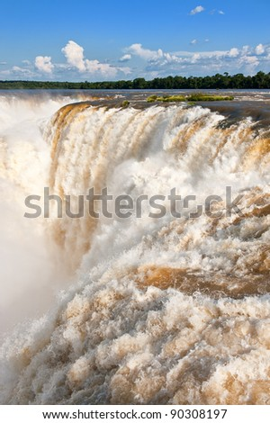 Iguazu falls, one of the new seven wonders of nature. UNESCO World Heritage site. View from the brazilian side. - stock photo