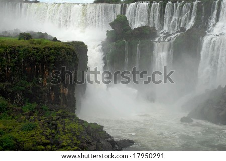 Iguazu waterfalls - Argentina. Iguazu Falls is the most visited place in Argentina. - stock photo