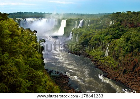 Iguazu waterfalls in Argentina and Brazil, South America - stock photo