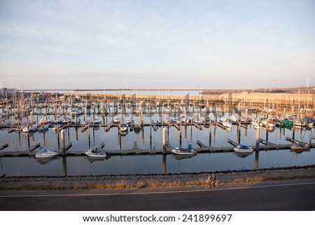 IJmuiden, Netherlands, 28 december 2014: Harbour with yachts at IJmuiden in the netherlands in winter time - stock photo
