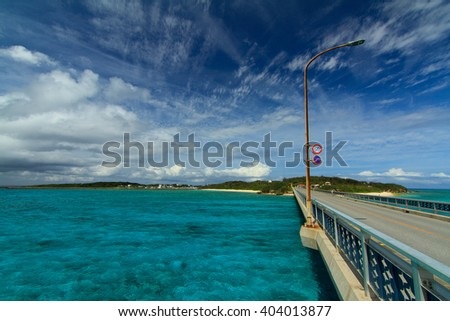 Ikema Ohashi Bridge with clear water in Miyakojima Island, Okinawa, Japan - stock photo