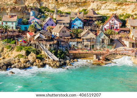 IL-MELLIEHA, MALTA - APRIL 09, 2012: View of the Popeye Village, with locals and visitors, in Il-Mellieha, Malta - stock photo
