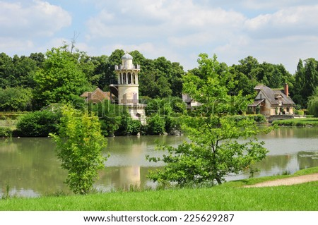 Ile de France, the Marie Antoinette estate in the parc of Versailles Palace - stock photo