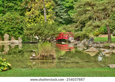 Ile de France, the picturesque japanese garden of  Aincourt - stock photo