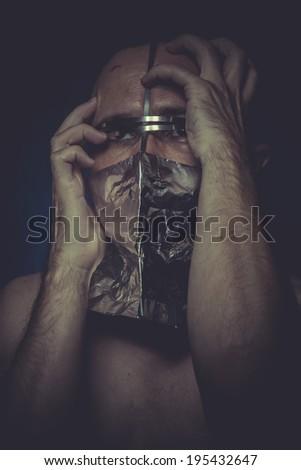 Ill, concept of mental disorder, schizophrenia and depression - stock photo
