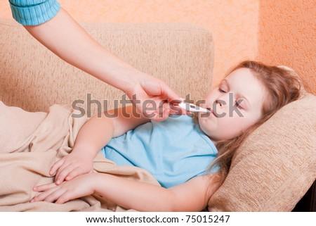 ill girl indoor - stock photo