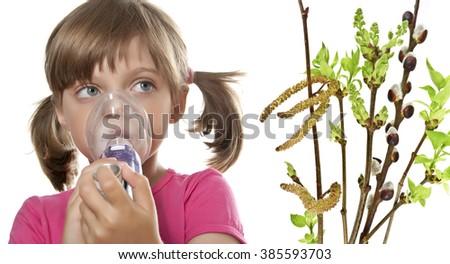 ill little girl using inhaler - respiratory problems - stock photo