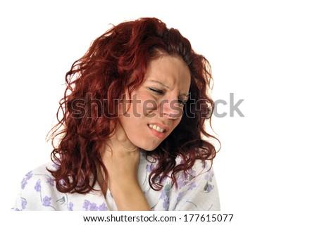 Ill woman holding throat - stock photo