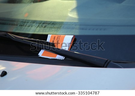 Illegal Parking Violation Citation On Car Windshield in New York - stock photo