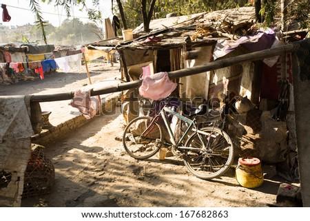 Illegal poor houses in Kathmandu valley - stock photo