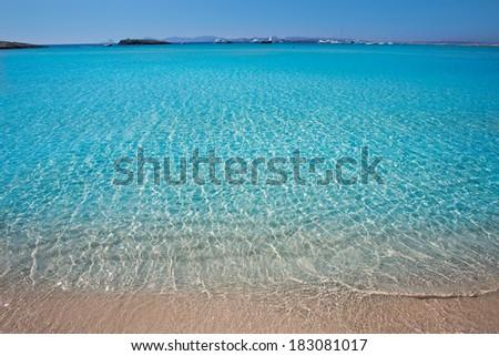 Illetes Illetas turquoise beach in Formentera Balearic Island - stock photo