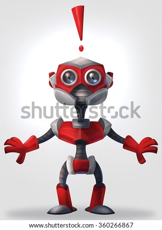 Illlustration of red robot emitting an exclamation mark in surprise - stock photo
