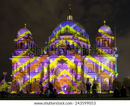 Illuminated Berlin Cathedral and TV Tower, Festival of Lights - stock photo