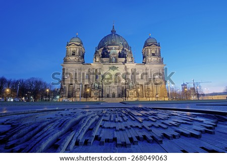 illuminated Berlin Cathedral (Berliner Dom) located on Museum Island (Museumsinsel) in the morning, Berlin Mitte, Germany, Europe - stock photo