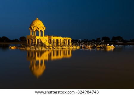 Illuminated building at Gadsisar Lake, Jaisalmer, Rajastan, India - stock photo