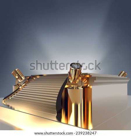 Illuminated empty golden stage podium for award ceremony. High resolution. - stock photo