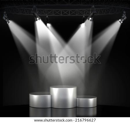 Illuminated empty stage podium for award ceremony  - stock photo