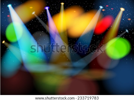 Illuminated empty stage. Raster version. - stock photo