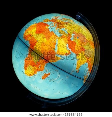 Illuminated globe. Africa and Eurasia. - stock photo