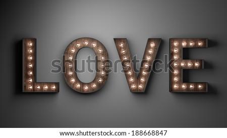 Illuminated love sign - stock photo
