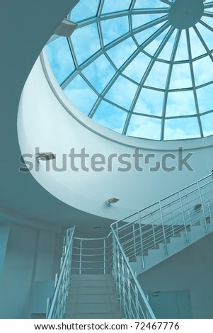 illuminated perspective staircase - stock photo