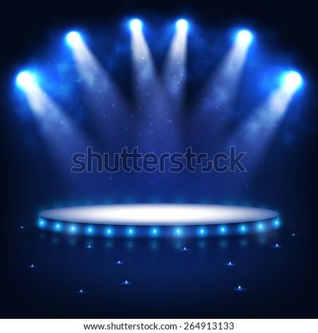 Illuminated Podium for Presentation in the Dark - stock photo