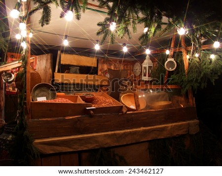 illuminated sales stall at christmas time - stock photo