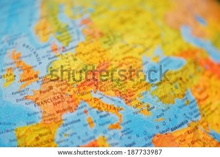 illuminated school education world globe closeup country - stock photo