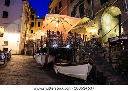Illuminated Street of Riomaggiore in Cinque Terre at Night, Italy - stock photo