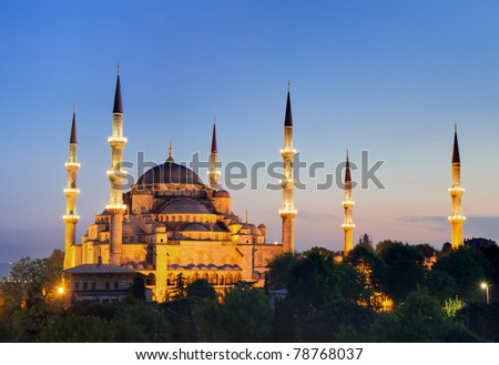 Illuminated Sultan Ahmed Mosque during the blue hour in HDR, Istanbul, Turkey - stock photo
