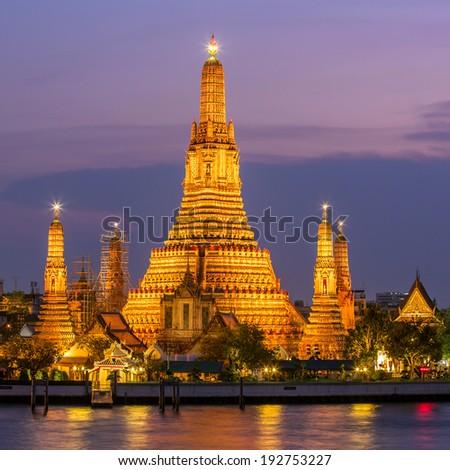 Illuminated Wat Arun in Bangkok, Thailand - stock photo