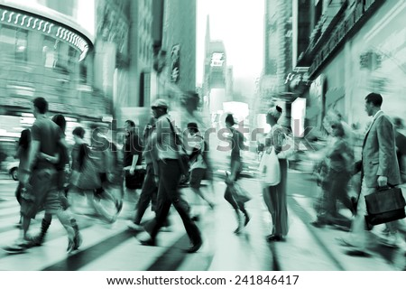 illumination and night life of the city motion blur and emerald tonality - stock photo