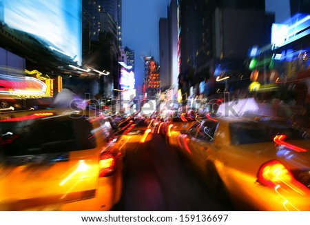 Illumination and night lights of New York City. Intentional motion blur - stock photo