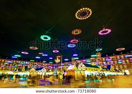 illumination in Madrids Christmas market at the Plaza major - stock photo