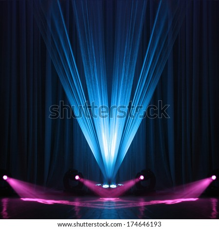 Illumination of a scene during a concert - stock photo