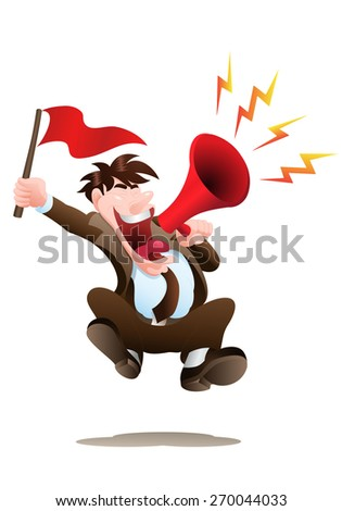 illustrasion of a male businessman holding red flag cheering as business motivatior - stock photo