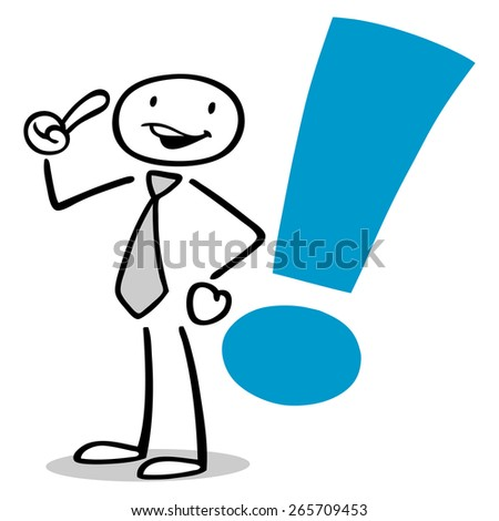 Illustrated business man having idea with exclamation mark - stock photo