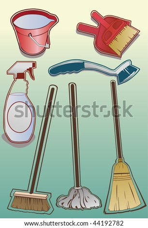 Illustrated cleaning items. Vector version also available. - stock photo