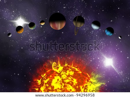 Illustrated diagram showing the order of planets in our solar system. Abstract illustration of planets in deep space. - stock photo
