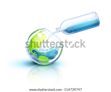 Illustrated Earth Being Filled with Water - stock photo