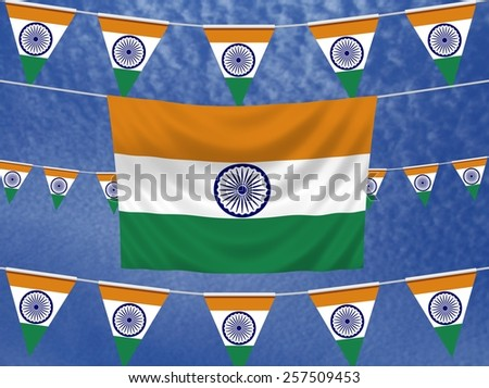 Illustrated flag of India with bunting and a sky background - stock photo
