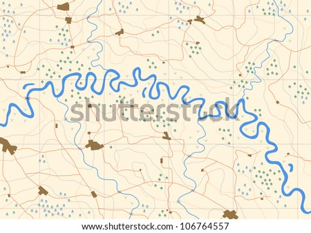Illustrated generic map of a meandering river valley - stock photo