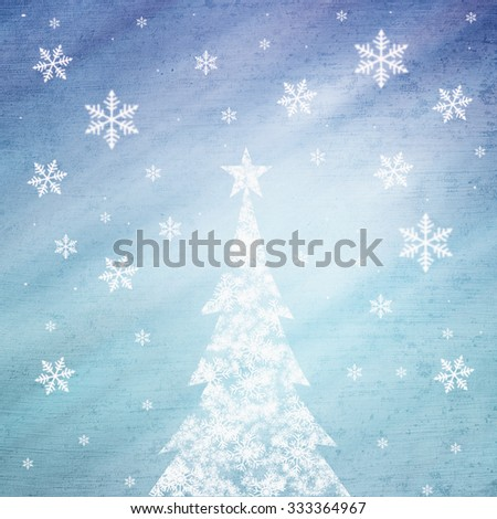 Illustrated grunge snowflake Christmas tree with star shape and beautiful bright and shiny cyan blue color background with blurry snowflake. Christmas Holiday illustration copy space background. - stock photo