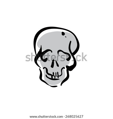 Illustrated hand drawn human skull icon.  - stock photo