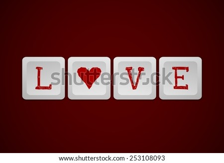 illustrated keyboard with the word love and a heart shape - stock photo