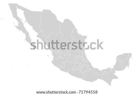 Illustrated map of Mexico showing states in grey or gray; white background. - stock photo