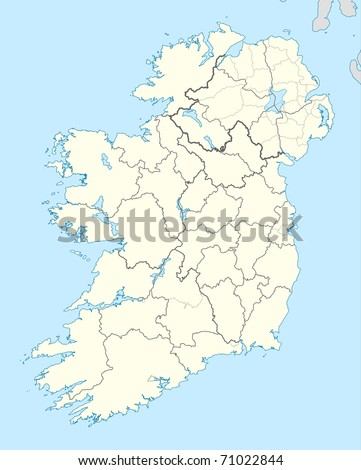 Illustrated map of the country of Ireland in Europe. - stock photo