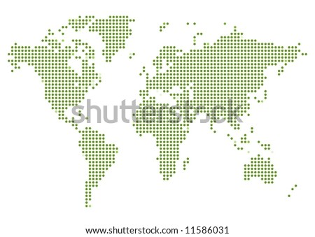 Illustrated map of the world made of green dots on a white background - stock photo
