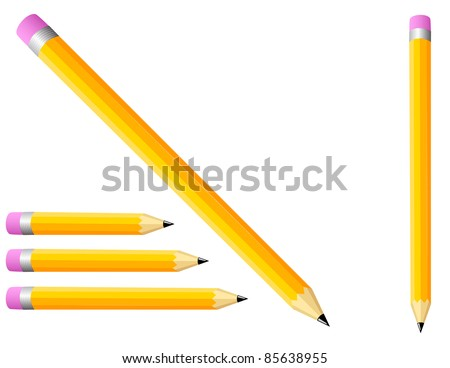 Illustrated Pencils - High Resolution JPEG Version (vector version also available). - stock photo