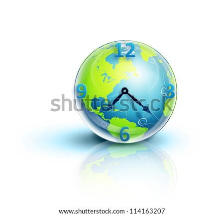 Illustrated Planet Earth Clock - stock photo
